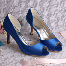 Wedopus Custom Handmade Women Open Toes Pumps Medium Heel Bridal Shoes Blue Satin