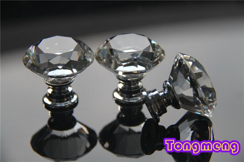 Free shipping 10pcs 30mm K9 Crystal Zinc Alloy Sparkle Glass Cabinet Knob Drawer Pull Handle Kitchen Door Wardrobe Hardware<br><br>Aliexpress