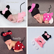 Latest Crochet Baby Cartoon Costume Knitted Newborn Baby Coming Home Outfits Mickey Baby Girl Photo Props 1set MZS-16028(China)