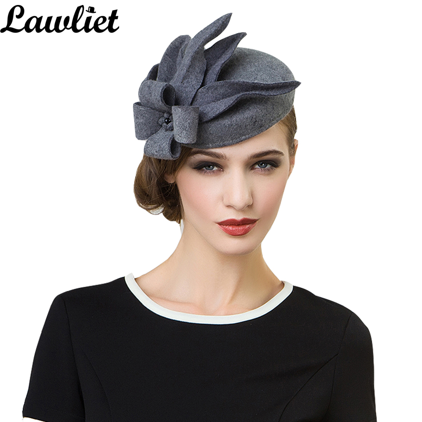 Women Fascinators Pillbox Wool Hat Gray Winter Vintage Felt Festival Party Wedding Ladies Women Fedoras with Fascinating Floral