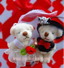 50 pair/lot 6.5cm Tinny teddy wedding bear in pairs, good as wedding gifts free shipping,Lovely Mini Size Tinny Weeding Bear