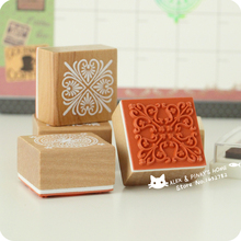 Square Wood Stamp Vintage Lace Stamp Seal Scrapbooking Stamp DIY Decoration Rubber Stamp sellos de goma para scrapbooking