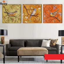 3Piece Abstract Birds Antique Paintings Printed Oil Painting Modern Wall Art Home Decoration Canvas Prints Pictures No Frame(China)