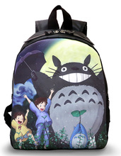 Lovely kid backpacks school backpacks cute anime character Totoro backpack Tonari no totoro black nylon backpacks NB027(China)