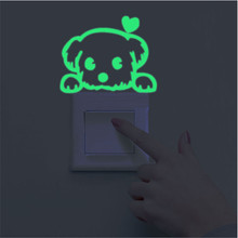 Luminous Stickers Super Bright Home Decoration DIY Funny Cute Cat Switch Glow in the Dark Living Room Fluorescent Sticker poster(China)