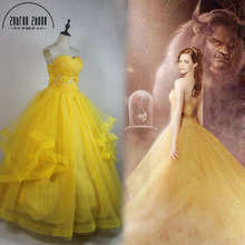 2017 Newest Moive Beauty And The Beast Belle Princess Cosplay Costume Yellow Top Dress For Adults Women Girls Can Be Custom Made