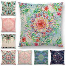 Hot Sale Boho Art Colorful Flower Gorgeous Floral Doodle Botanical Geometry Mandala Decorative Pattern Cushion Cover Pillow Case(China)