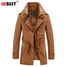 LKBEST 2017 long leather jacket men thick warm mens leather jackets and coats fashion wool liner overcoat brand clothing (PY09)