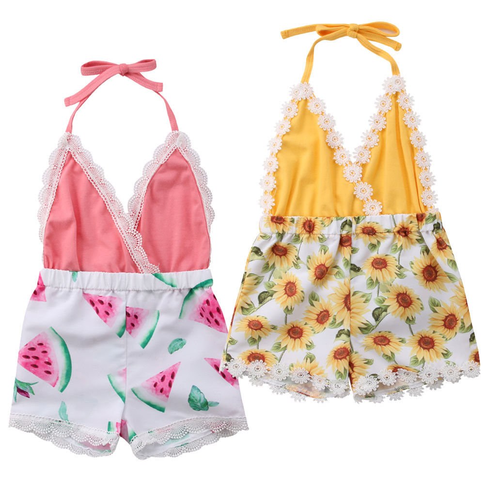 US Sunflower Kid Baby Girl Clothes Lace Romper Jumpsuit Backless Bodysuit Summer