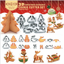 Dropshipping XINYUN 8 Pcs 3D Christmas Scenario Cookie Cutter Set Cake Decoration Stainless Steel Biscuit Mould Fondant Cutter(China)