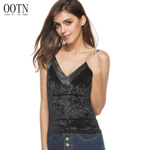 OOTN Silk Velvet Camisole Crop Tops Sexy V-neck Sleeveless Women Tank Top Satin Strap Female Tops Summer Cropped Autumn Camis(China)
