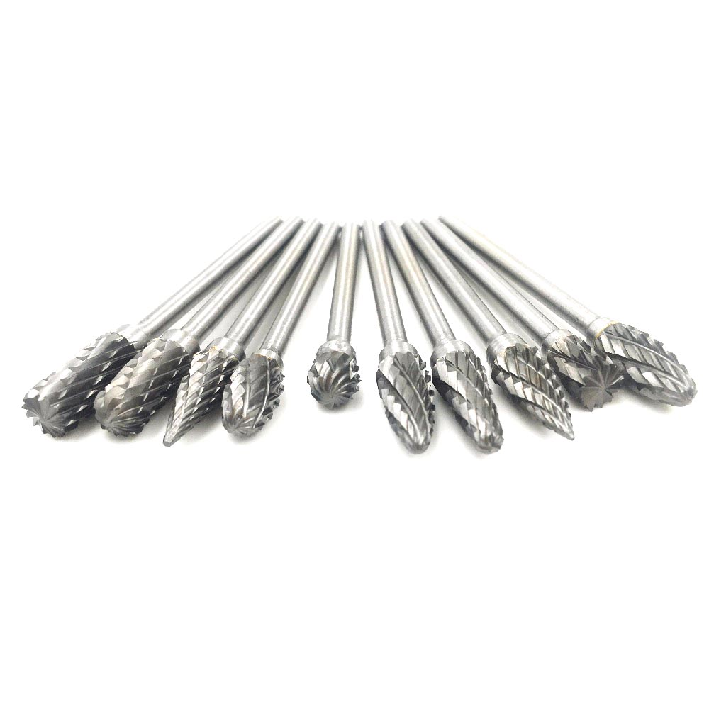 Hot 10pcs 3*6 mm Rotary Files Tungsten Carbide Cutter Burs Drill Bit for Dremel Rotary Tools Metalworking Milling Polishing Tool