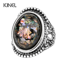 Luxury Trendy Shells Ring For Women Dazzle Beautiful Accessories Silver Plated Artificial Coral Vintage Oval Big Rings Size 10