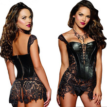 Hot New Sexy Babydoll Women's Lace joint faux leather Underwear sex lingerie Costumes lady's erotic corset nightgown Sex Product