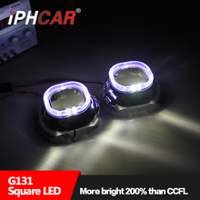 "Free Shipping IPHCAR Car Styling Auto Part 3.0"" Bi-xenon LED Ring Angel Eyes Projector Lens Shroud for Headlights Retrofit"
