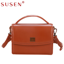 SUSEN 8166 PU Leather Flap Solid Hard Business Fashion Shoulder Tote Bag Hasp Lock Women Handbags Black Brown Camel