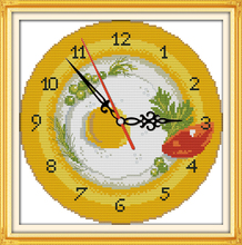Fruit tray clock face cross stitch kit 14ct 11ct count print canvas wall clock stitches embroidery DIY handmade needlework plus