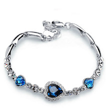 Fashion Jewelry Silver Crystal Heart Charm Bracelets & Bangles Pulseiras Blue Rhinestone Bracelets For Women(China)