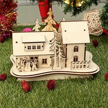 Modern Design Cute Christmas LED Light Wooden Decoration House Scene Home Decoration Gifts DIY Graffiti Ornament(China)