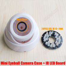 DIY PP Plastic Mini Eyeball Dome Camera Casing with 24PCS IR LED Board Fixed Lens Video Security Camera Case Indoor CCTV Housing