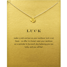 New Arrival Luck Four Leaf Clover Necklace Women Jewelery Statement Necklace Gold Dipped Short Necklace With Card T0311