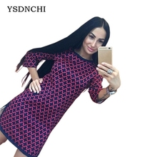 YSDNCHI Spring Fashion Cross Plaid Printed Slim Straight Dress Casual Women's Clothing 3/4 Long Sleeves Side Open Fork Dresses