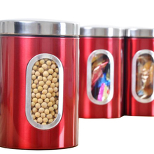 3pcs Stainless Steel Window Canister Tea Coffee Sugar Nuts Jar Storage Set