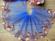 "10 yard 17cm 6.69"" wide blue orange tulle gauze mesh fabric embroidered tapes ribbon lace trim 8196 1107"