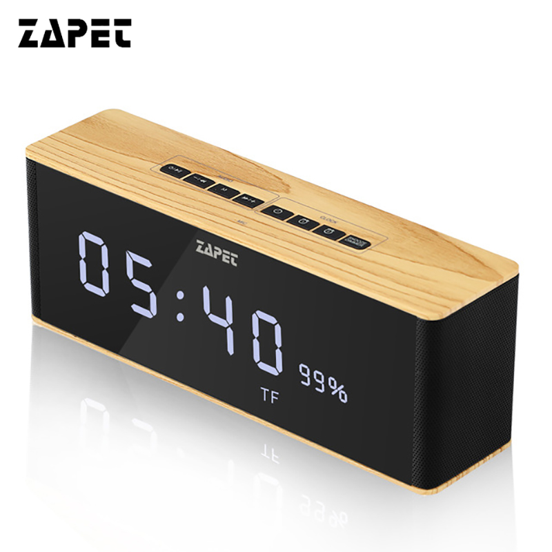 ZAPET Speaker Portable Bluetooth Speaker Wireless  Stereo Music Soundbox with LED Time Display Clock Alarm Loudspeaker<br>