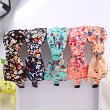 New Korean 5 Colors Linen Cloth Printing flowers Hairbands Big Hair Bows Headbands For Women Elegance Hair Accessories For Girls