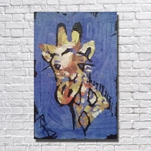 Abstract Cartoon Animal Wall Pictures Canvas Wall Art Abstract giraffe Paintings Hand Paint Free Shipping