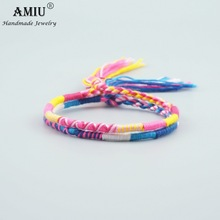 AMIU Jewelry Cotton Friendship Bracelets Anklet Bracelets Bohemia Style Weave Woven String Handmade Bracelet For Women and Men(China)