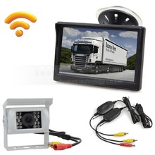 Wireless Waterproof Color CCD Reverse Backup Car Truck Camera IR Night Vision + 5 inch LCD Display Rear View Car Monitor