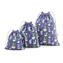 Cute Cactus Pattern Linen Cotton Storage drawstring Bags Backpack Baby Kids Toys Travel Shoes Laundry Lingerie Makeup Pouch 15