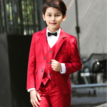 5pcs/set Boys Suits for Wedding Flower Boys Dress Red Formal Blazers Boy Prom Boys Blazer Jackets Set