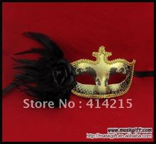 Wholesale Venetian Unique Style Black Gold Feather Masquerade Party Mask for Sexy Lady
