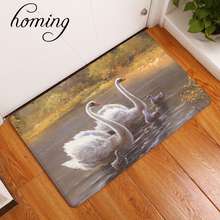homing absorption light door welcome home mats cozy elegant swan family carpets hallway home decor crafts for bedroom kitchen(China)