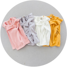2016 New Arrival Cotton Baby Girls Long Sleeve T Shirts Kids White Turn Down Collar Shirts Princess Pink ruffle Blouse Tops 1-4T