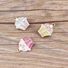 MRHUANG 10pcs/pack Rhinestone Cake Enamel Charms Alloy Oil drop Pendant fit for bracelet DIY Fashion Jewelry Accessories