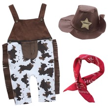 Baby cowboy romper costume infant toddler boy girl clothing set 3pcs hat +scarf +romper halloween purim event birthday outfits(China)