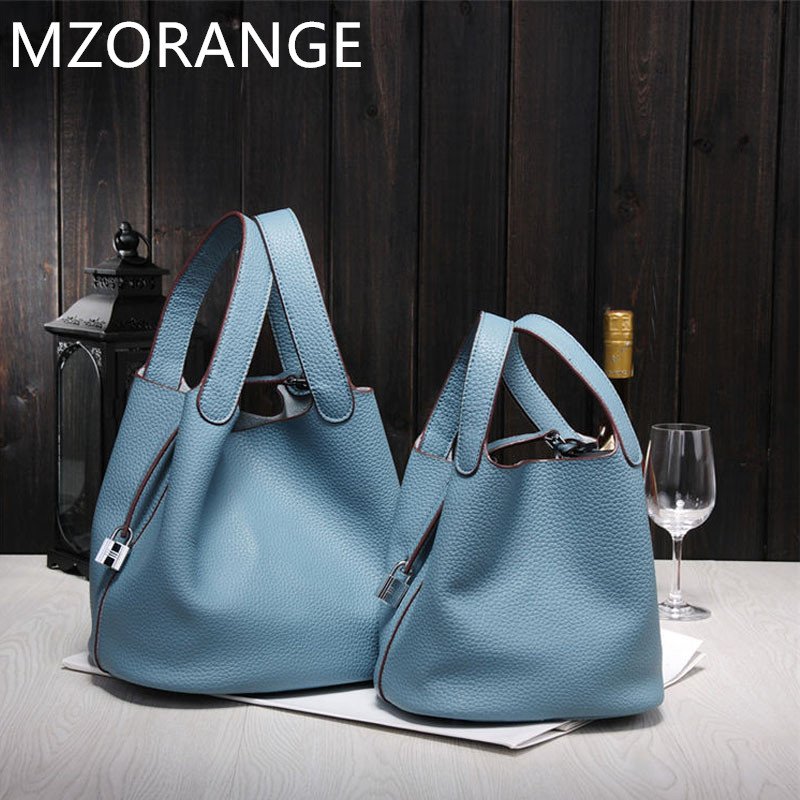 MZORANGE 2018 New Womens handbags famoustop quality ladies Genuine leather bags designer brand lock shopping totes bucket bag<br>
