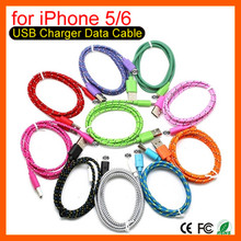 USB Data Cables Fabric Braided Sync Cable Charger Cord For iphone 6 6plus Sync charging cable iPhone 5 5s 5c fit for IOS8 XEDAIN