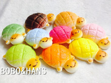 New Cute Candy Colors Cartoon Tortoise turtle squishy charm / mobile phone strap / no brown color / Wholesale(China)