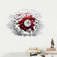 3D Wall Clocks Room Decal Wall Stickers Mute Silent Clock Wall Art Mural Removable Office Decor Collapsed Decoration