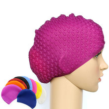 Multicolor Silicon Swimming Hat Cover Protect Ear Long Hair Waterdrop Swimming Caps casquette de marque bone(China)