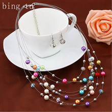 Bing Tu Imitation Pearl Jewellery Sets For Brides Elegant Multilayer Women Necklace Drop Earrings Set Wedding Christmas Gift