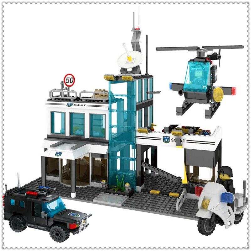 GUDI 9413 566Pcs Police SWAT Command Center Building Block DIY Educational  Toys For Children Compatible Legoe<br>