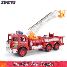 Inertial Fire Truck Model Toy for Children Simulation Plastic Vehicle Diecast Fire Truck Cool Educational Toy for Boys Kids Gift(China)