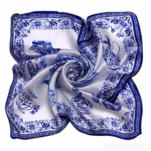 [LESIDA]Porcelain Print Bandana Square Silk Scarf 53*53CM Women Favorite Foulard Kerchief Necklace Satin Scarf1064