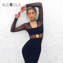 Buy Autumn Mesh Sheath Dress Women Midi Dresses Solid Bandeau Office Female Vestidos Pencil Sexy Club Prom Party Bodycon Dress for $12.98 in AliExpress store